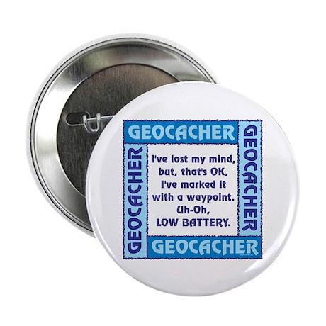 """Blue Geocacher Lost Mind 2.25"""" Button (10 pack)"""