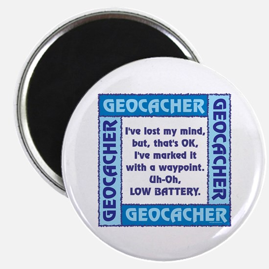 Blue Geocacher Lost Mind Magnet
