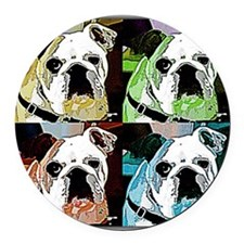 Clyde_The_Bulldog Round Car Magnet