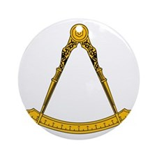 Golden Square and Compasses Round Ornament