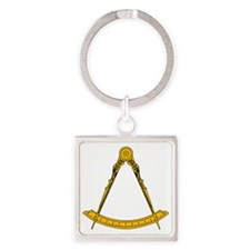 Golden Square and Compasses Square Keychain