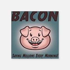 "bacon-vegan-BUT Square Sticker 3"" x 3"""