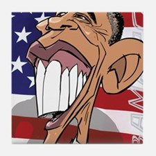 Barack Obama Caricature Cartoon by He Tile Coaster