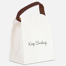 Keep Smiling Script Black Canvas Lunch Bag