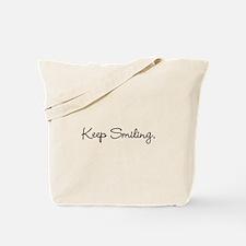 Keep Smiling Script Black Tote Bag