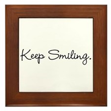 Keep Smiling Script Black Framed Tile