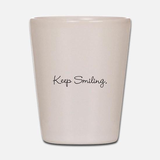Keep Smiling Script Black Shot Glass