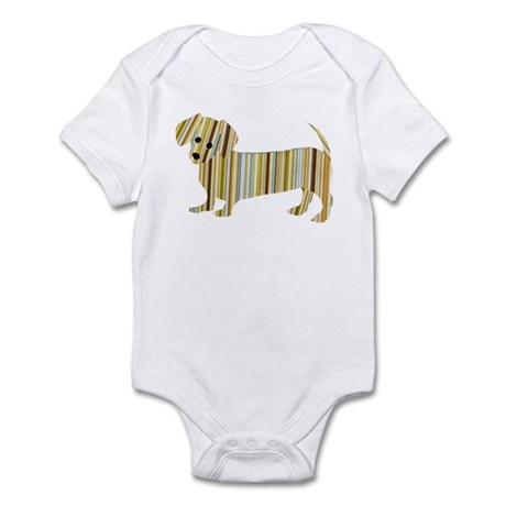 Striped Dachshund Puppy Infant Bodysuit