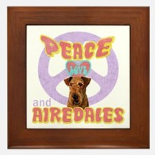 PEACE LOVE and AIREDALES Framed Tile