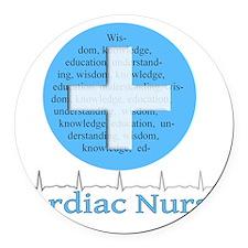 Cardiac Nurse Blue Circle Round Car Magnet