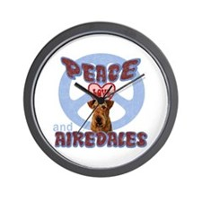 PEACE LOVE and AIREDALES Wall Clock