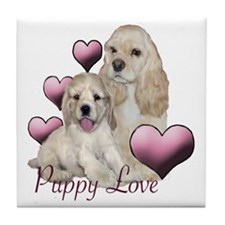 puppy love cocker Tile Coaster