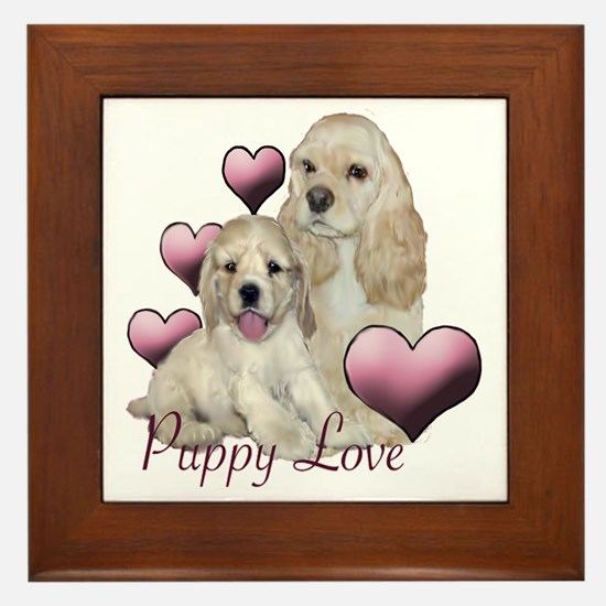 puppy love cocker Framed Tile