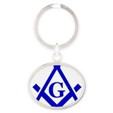 Blue Lodge Square and Compasses Oval Keychain