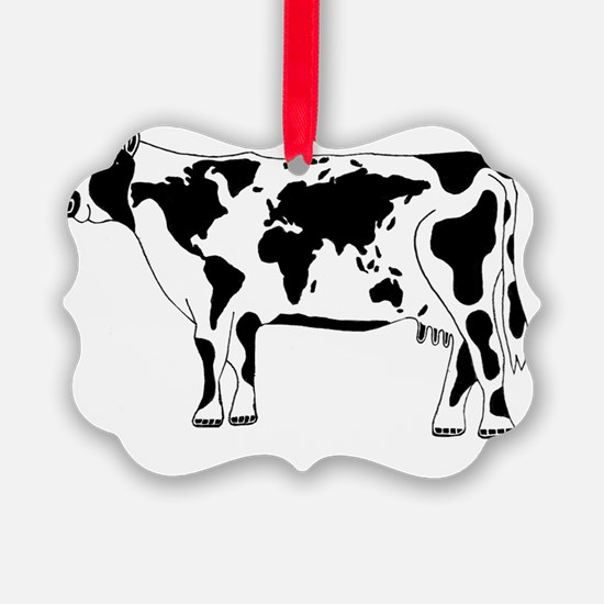Cow Map Ornament