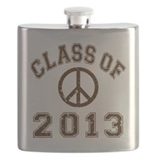 Class Of 2013 Peace - Brown 2 D Flask