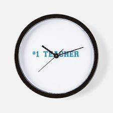 #1 Teacher in Blue Wall Clock