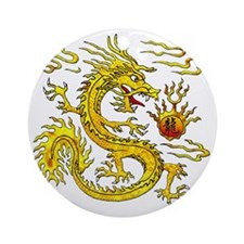 Golden Dragon Round Ornament
