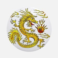 Golden Dragon Round Ornament
