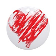 Scribbled Heart Round Ornament