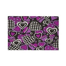 BLACK-WHITE-RED-HEARTS copy copy Rectangle Magnet