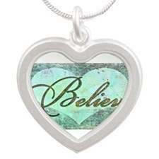 believe teal heart Necklaces