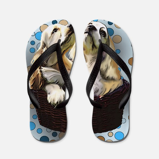 cocker_puppies for blanket Flip Flops