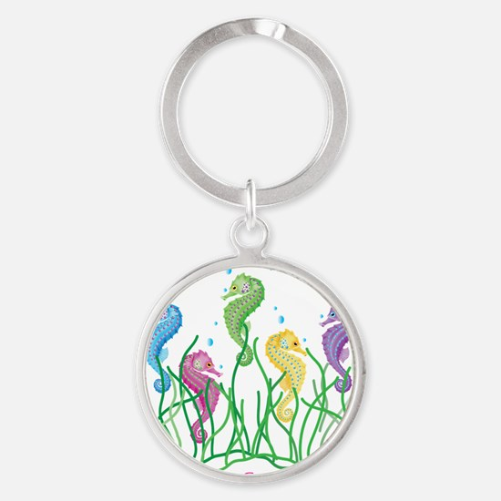Whimsical Dancing Seahorses Design Round Keychain