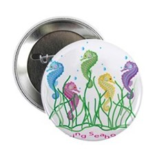 "Whimsical Dancing Seahorses Design 2.25"" Button"