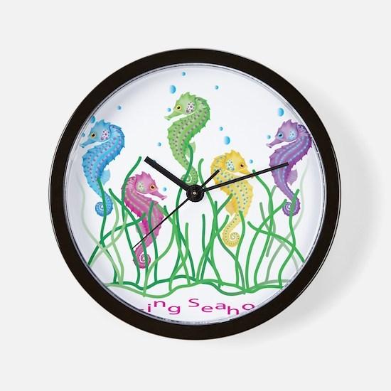 Whimsical Dancing Seahorses Design Wall Clock