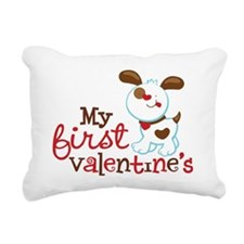 1stValentinesPuppy Rectangular Canvas Pillow