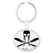Spartan_Helmet__Swords_Crossed_Outli Oval Keychain