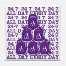 24-7 every day, purple3 Tile Coaster