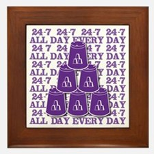 24-7 every day, purple3 Framed Tile