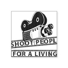 """I Shoot People-Black with c Square Sticker 3"""" x 3"""""""