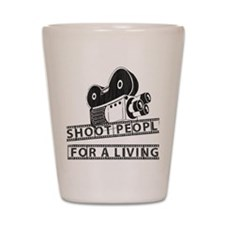 I Shoot People-Black with cam Shot Glass