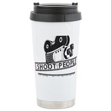 I Shoot People-Black with cam Thermos Mug