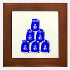 24-7 every day, white  blue2 Framed Tile