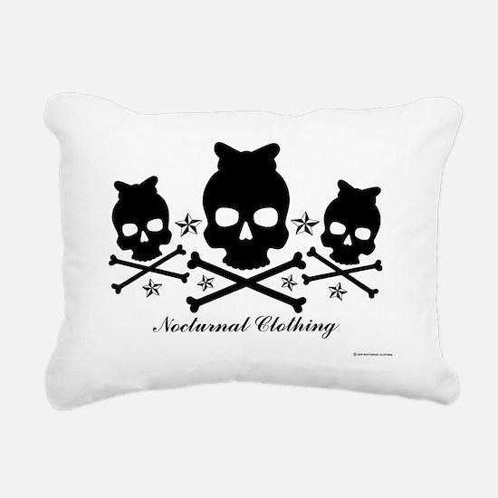 Bowskull Black Rectangular Canvas Pillow