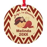 Christmas bauble with baby girl Round Ornament