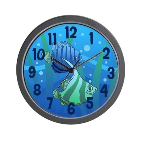Tropical paradise fish wall clock by koncepts for Fish wall clock