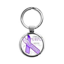 I Wear Purple for my Paw Paw Round Keychain