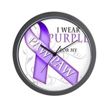 I Wear Purple for my Paw Paw Wall Clock