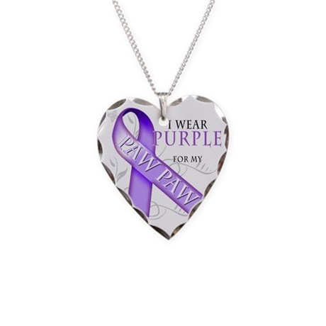 I Wear Purple for my Paw Paw Necklace Heart Charm