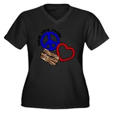 blue red, PL Women's Plus Size Dark V-Neck T-Shirt