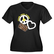 white, wh PL Women's Plus Size Dark V-Neck T-Shirt