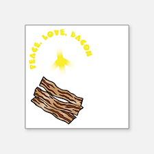 "white, wh PL Bacon Square Sticker 3"" x 3"""