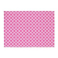 White on Hot Pink Quatrefoil Pattern 5'x7'Area Rug