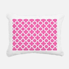 White on Hot Pink Quatrefoil Pattern Rectangular C