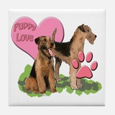 airedale_puppy_love Tile Coaster